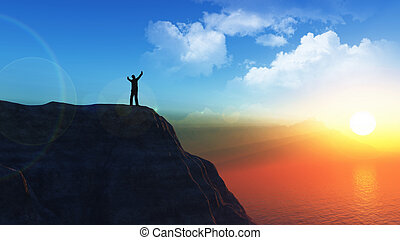 3D male figure on the top of a cliff with his arms raised in success