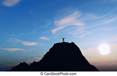 3D male figure on top of a mountain holding his arms up in success