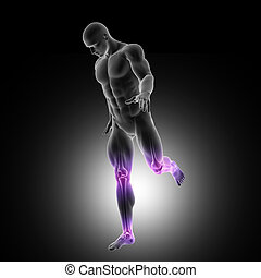 3D male figure running with leg joints highlighted