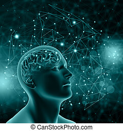 3D male figure with brain on background with connecting dots...