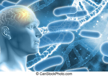 3D male figure with brain on DNA medical background - 3D DNA...
