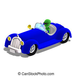 3d male icon toon character driving a huge car. 3D rendering with clipping path and shadow over white
