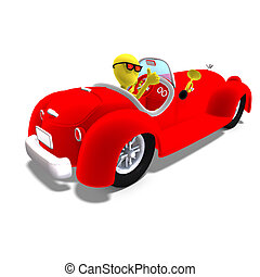 3d male icon toon character driving a huge car. 3D rendering...
