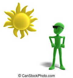 3d male icon toon character loves the sun. 3D rendering with clipping path and shadow over white