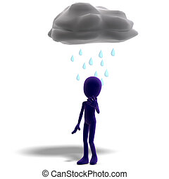 3d male icon toon character standing in the rain. 3D rendering with clipping path and shadow over white