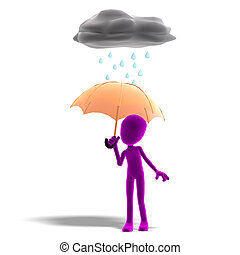 3d male icon toon character standing in the rain with an umbrella. 3D rendering with clipping path and shadow over white