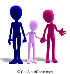 3d male icon toon characters as a familiy. 3D rendering with clipping path and shadow over white