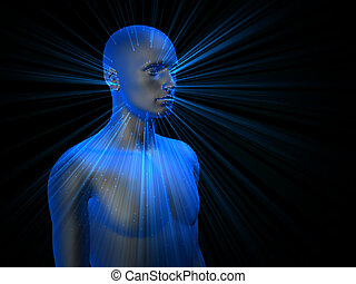 3D male mode - colorful 3D male half-length portrait with...