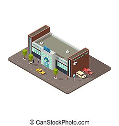 3D mall or shopping center with people, taxi and parking with cars vector illustration