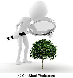 3d man , a magnifier glass and a small tree - concept