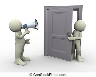 3d, man, aankondiging, op, deur