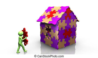 3D man achieving the building of his house against a white background