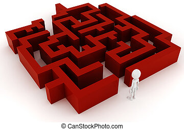 3d man and a maze, on white background