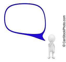 3d man and a speech bubble concept