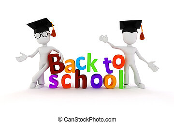 "3d man and ""back to school"" text on white background"