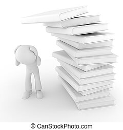 3d man and books, on white background