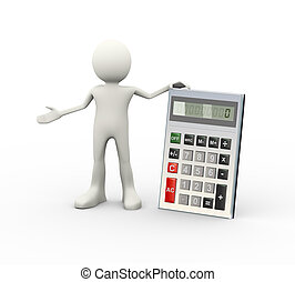 3d man and calculator