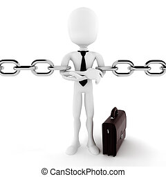 3d man and chain, business concept