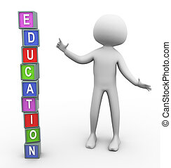 3d man and colorful text 'education'