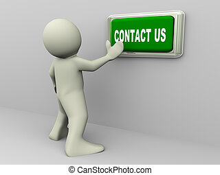 3d man and contact us button