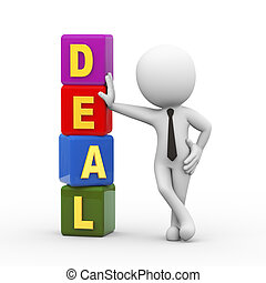 3d man and deal cubes