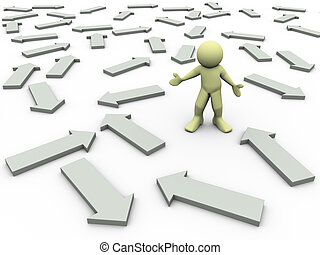 3d render of confused man and different directional arrows. 3d illustration of human character