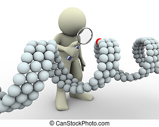 3d man and dna - 3d render of man with magnifying glass...