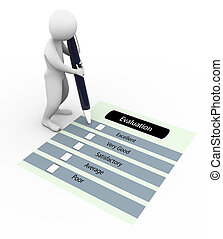 3d man and evaluation questionnaire - 3d man marking on the...