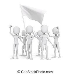3d man and flag, protest concept