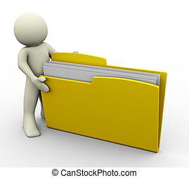 3d man and folder - 3d render of man opening folder