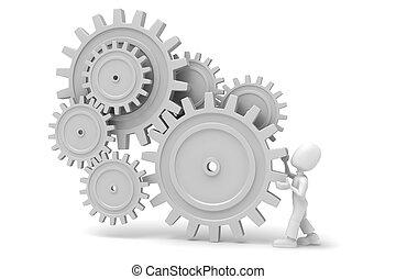 3d man and gear wheels
