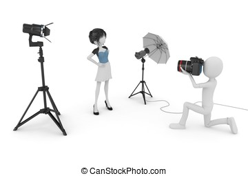 3d man and girl studio photo session isolated on white