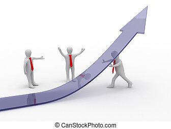 3d man and graph arrow. business partnership concept