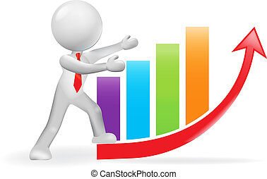 3D man and growing business bar graph chart