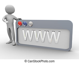 3d man and Internet browser - 3d man pointing to WWW...