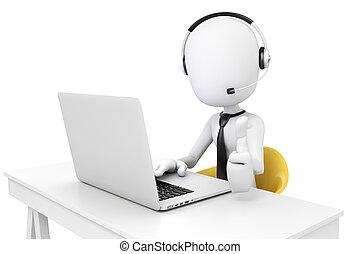 3d man and laptop, call center busi