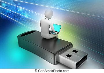 3d man and laptop sitting usb