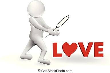 3D man and love text vector image