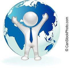 3D man and map world logo