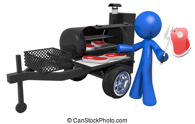 3d Man and Mobile BBQ - Mobile cookout, blue man cooking...