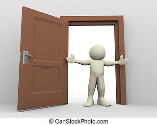 3d man and open door - 3d render of man in front of open...