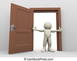 3d render of man in front of open door. 3d illustration of human character.