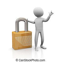 3d man and padlock