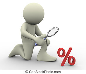 3d man and percentage sign - 3d render of man with...