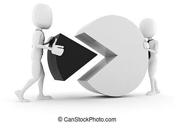 3d man and pie chart, on white background