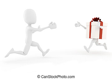 3d man and present box running toward each other