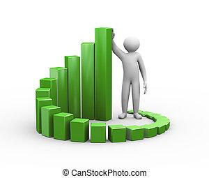 3d man and progress growth business chart