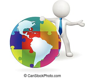 3d man and puzzle globe world map