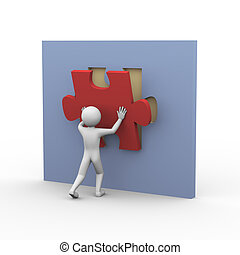 3d man and puzzle solution - 3d rendering of man placing and...