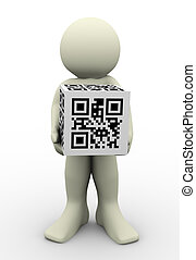 3d man and qr code (matrix barcode)